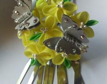 Canola with Silver Butterflies Kanzashi Hair Fork
