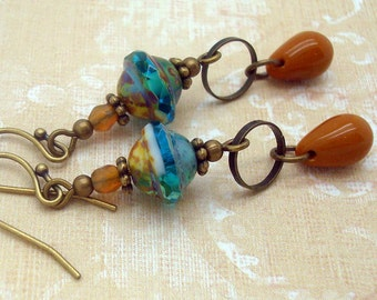 Bohemian Earrings, Handmade, Chic, Rustic, Boho Jewelry, Mustard Yellow and Aqua Blue Glass, Brass, Neo Victorian, American Made