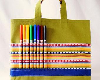 Crayon Tote • Crayon Bag • Coloring Bag • Art Tote • Crayon Holder • Crayon Roll • Ring Bearer • Busy Bag • ARTOTE • The Dotted Line