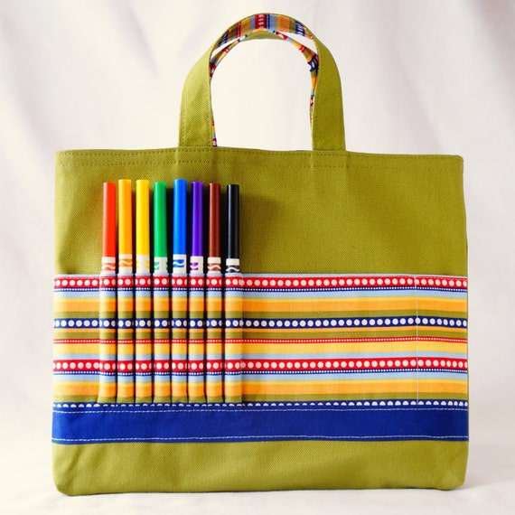 Coloring Tote Canvas Tote Ring Bearer Gift Crayon Bag Clearance Ready to Ship ARTOTE in The Dotted Line