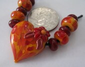 The Color of Fall Heart Lampwork Bead Set