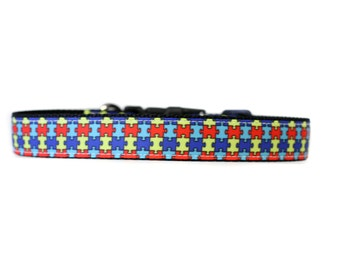 1 Inch Wide Dog Collar with Adjustable Buckle or Martingale in Autism Awareness