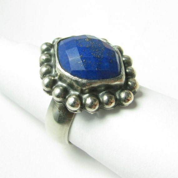 Size 7.25 Lapis Lazuli Ring, Metalsmith Ring, Artisan Jewelry, OOAK Ring, Cocktail Ring, Silversmith Ring, One Of A Kind Ring, Lapis Jewelry