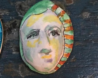 clay face jewelry craft supplies  handmade cabochon   green polymer clay  findings    girl  freckles