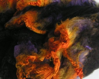 Mawata Silk Hankies Hand Painted HOWLING Knitpack 42 grams Silk Hanky Knit Spin Felt Fusion Crafts