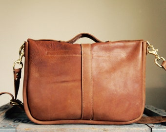 NEW Satchel//Thick Caramel Brown Cowhide with Handle and Clip On Adjustable Strap in Solid Brass