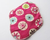 HEAVY FLOW Cloth Mama Pad  .. Perfect for Postpartum 8 inch - Dark Pink Flowers Printed Flannel FREE Shipping
