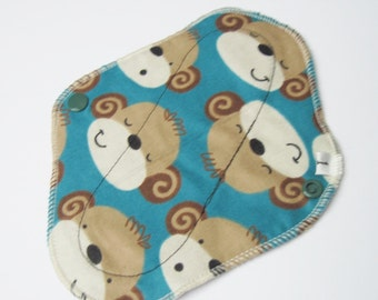 Cloth Mama Pad Flannel Panty liner 8 inch - Cute Monkeys Printed Menstrual Pad FREE Shipping