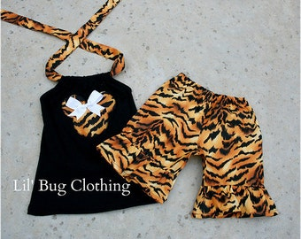 Custom Boutique Clothing Tiger Minnie Mouse Short and Halter Top