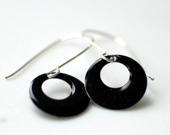 Black Earrings, Enameled Earrings, Winter Jewelry, Classic Earrings, Geometric Jewelry, Circle Earrings, Ebony Black, Dangle Earrings