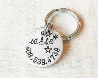 Our dog tags make a unique personalized gift. Each pet id tag is crafted in our Bozeman, Montana studio by dog lovers. Sadie Tag