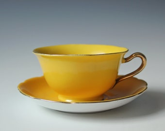 vintage yellow cup & saucer fine China/ tea party / gifts for her
