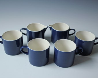 Set of 4 modern cobalt blue porcelain coffee tea cups and creamer by Melitta Germany Stockholm