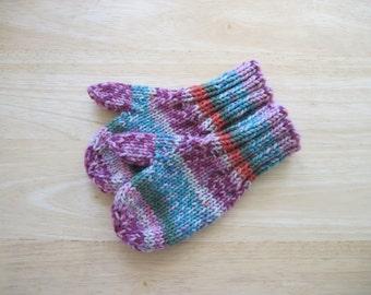 Child Wool Free Mittens Small Hand Knit Gilato Stripe