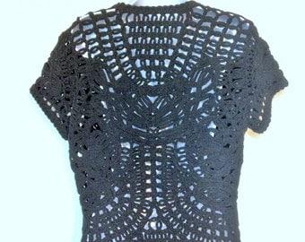 Black Lace Blouse Black Crochet Blouse Size S Vintage Soustache Jacket Jacket Linen Crochet