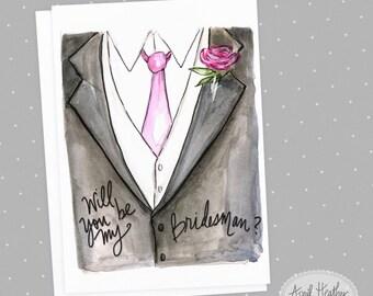 Bridesman PDF Tuxedo Bridesman, Will You Be My Bridesman card PDF printable card