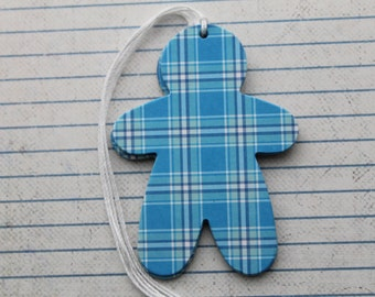 10 Turquoise plaid gingerbread man chipboard tags