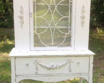 Shabby French China Cabinet Hutch Painted Cottage White With Lights
