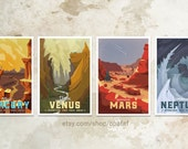 4 Pack - Planet Travel Posters WPA style - 13x19