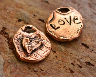 TWO Rustic Copper Bronze Heart Charm Etched Love on Back, AD-452c
