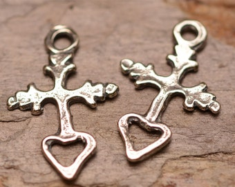Two Tiny Milagro Cross with Open Heart in Sterling Silver