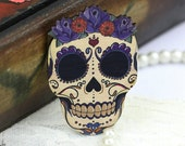 4pcs Flower Skull Charms, Wood Floral Skull Pendants HW019A