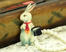 4pcs Wood Vintage White Rabbit Art Charms / Pendants HW016F