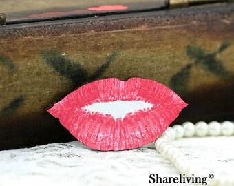 Wood Lips Charms, Laser Cut Wooden Lips Pendants HW026B