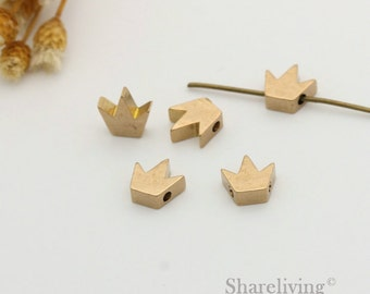 10pcs Raw Brass Crown Charm / Pendant with 1 Hole  - BD002