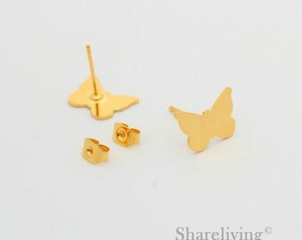 4pcs Butterfly Stud Earring, Gold Plated Post Earring Dual-used Butterfly  Earring - ED018B