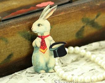 4pcs Wood Vintage White Rabbit Art Charms / Pendants HW016F
