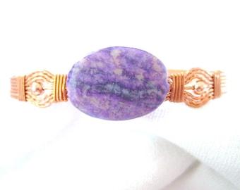 Purple Jungle Jasper Oval Beaded Copper Wire Wrapped Bracelet