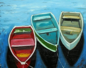 Boats 43 18x24 inch original impressionistic oil painting by Roz