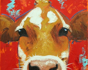 Cow painting 1072 12x12 inch original animal portrait oil painting by Roz