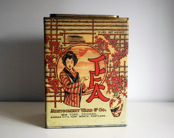 Asian Tea Container, 1913 Montgomery Ward Tea Tin, Antique Asian Box, Japanese Woman, Orientalism, Kitchen Storage, American Can Co