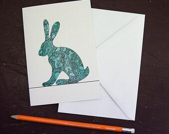 Paisley Hare Greetings Card