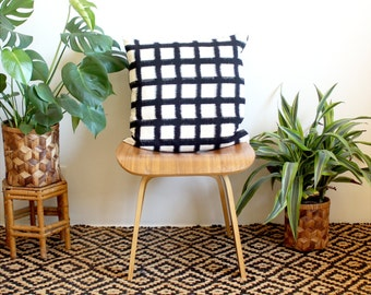 Black and White Pillow Cover, Ikat Grid Pattern, Geometric 20 inch Pillow Case, Handwoven Fabric Pillow Cover, Boho Home Decor, Black Linen