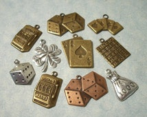 10pc Casino Charms, Gambling Charms, Memory Book Embellishment, Brass Stampings, Scrapbooking Charms, Greeting Card Embellishments