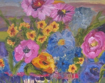 Large Floral Painting Original Art 20 x 20 inches Kate Ladd