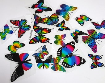 E2 RAINBOW BUTTERFLY Pack - 20 per pack - scrapbooking, card making, crafts