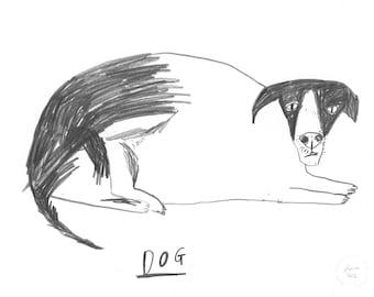 Original Dog Art Drawing    PIG DOG