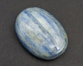 Kyanite cabochon, smooth oval flat back blue silver 27mm x 20mm