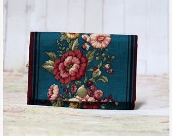 Blue And Flower - Coin Purse/Credit Card/ Zipper Pouch