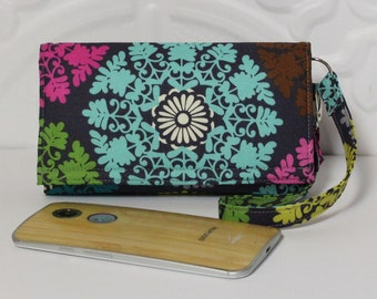 Cell Phone Wallet Wristlet Case READY TO SHIP / iPhone 6 Plus Wallet Case with Card Holder Nokia Lumia Galaxy Mega / 3X / Lace Medallions
