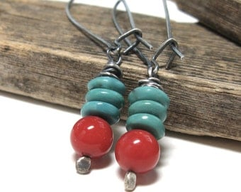 Red and turquoise earrings, country western dangles, southwestern jewelry, red coral beads, rustic jewelry, genuine turquoise gemstones