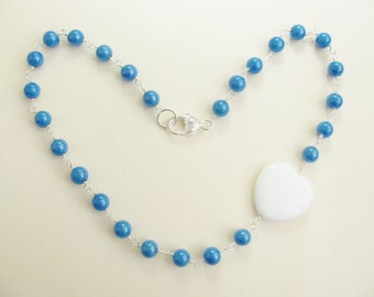 Blue and white necklace. White heart necklace. Romantic necklace.