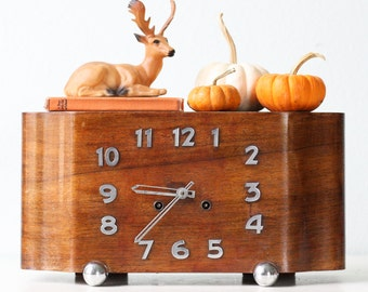 Vintage Mid Century Clock, Wood and Chrome Mantle Clock