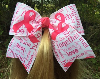 Breast Cancer Awareness Cheer Hair Bow