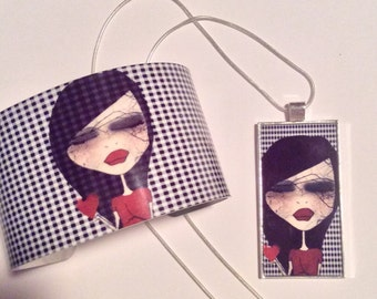 Cuff and necklace set - Broken Heart
