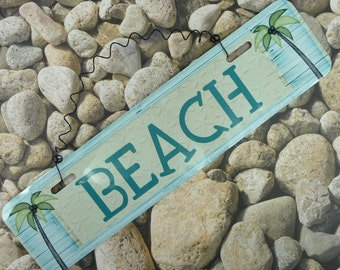 BEACH SIGN  Metal Sign   Coastal Ocean Theme Beach House Cabin Vacation Home Wire Hanging Cute Home Decor Kitchen Front Door Gift 12 x3in 